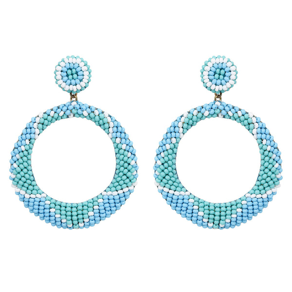 Deepa by Deepa Gurnani Handmade Embroidered Leila Earrings in Blue