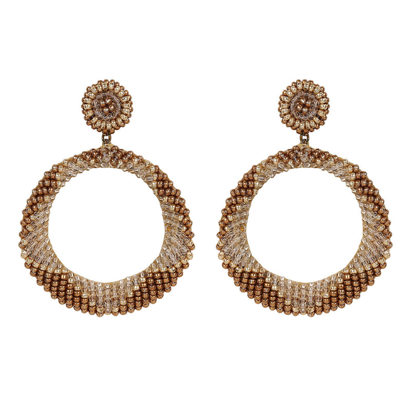 Deepa by Deepa Gurnani Handmade Embroidered Leila Earrings in Gold