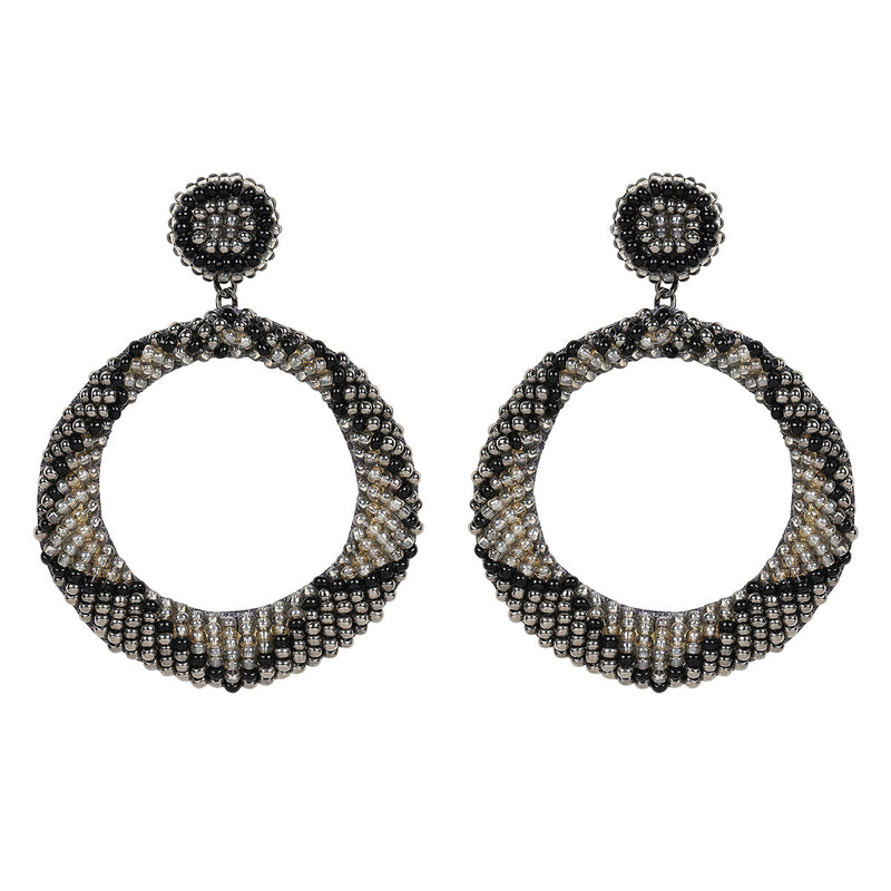 Deepa by Deepa Gurnani Handmade Embroidered Leila Earrings in Black