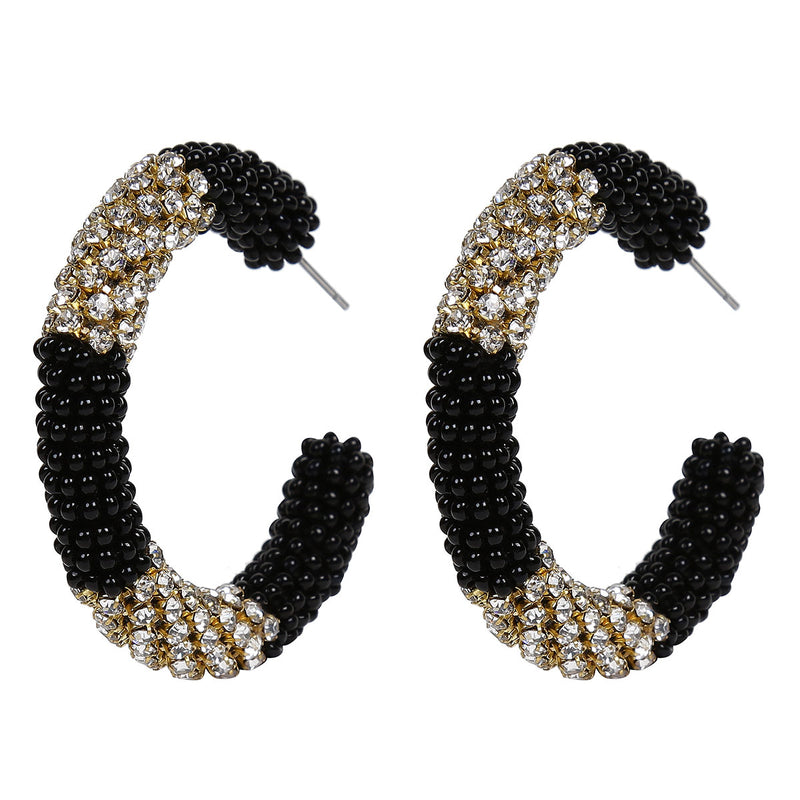 Deepa by Deepa Gurnani Handmade Beaded Hoop Earrings in Black