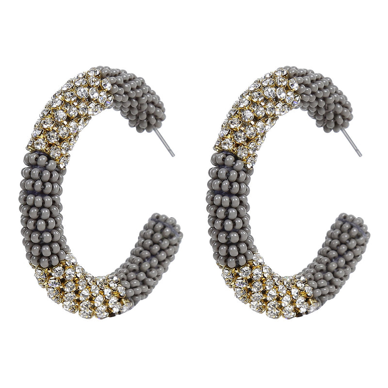 Deepa by Deepa Gurnani Handmade Beaded Hoop Earrings in Gray