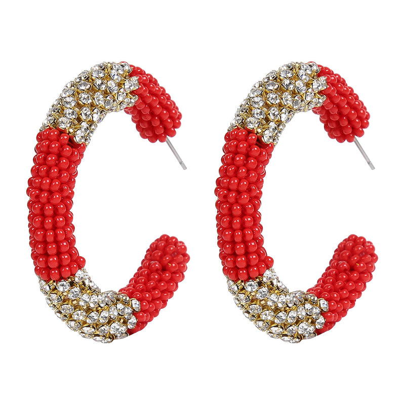 Deepa by Deepa Gurnani Handmade Beaded Hoop Earrings in Red