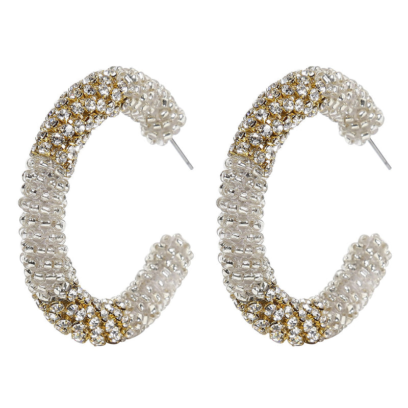 Deepa by Deepa Gurnani Handmade Beaded Hoop Earrings in Silver