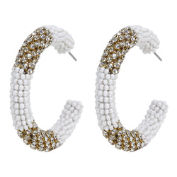Deepa by Deepa Gurnani Handmade Beaded Hoop Earrings in White