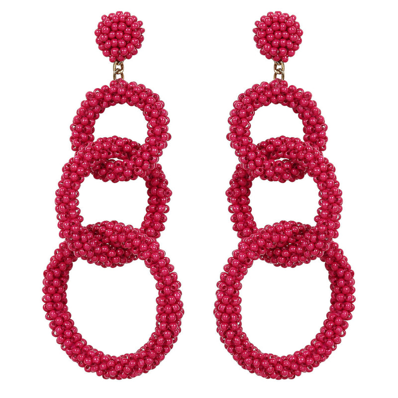 Deepa by Deepa Gurnani Handmade Ember Earrings in Fuchsia