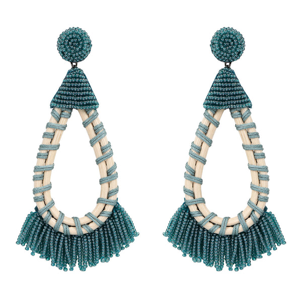 Deepa by Deepa Gurnani Handmade Teal Beaded Earrings