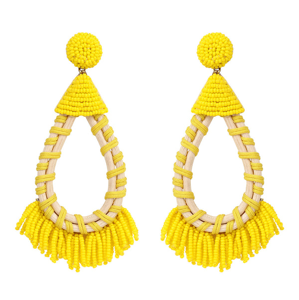 Deepa by Deepa Gurnani Handmade Yellow Beaded Earrings