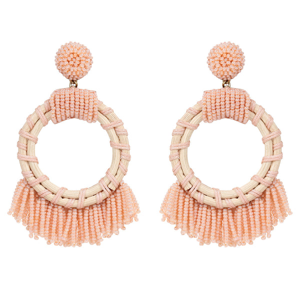 Deepa by Deepa Gurnani Handmade Dabria Earrings in Peach