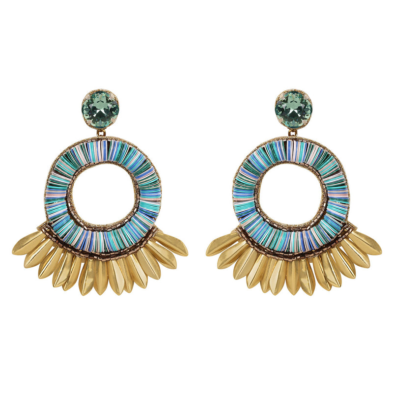 Deepa by Deepa Gurnani Farah Handmade Embroidered Earrings in Blue