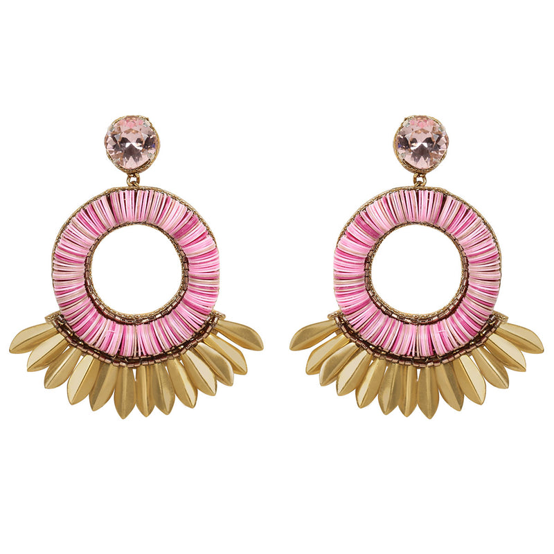 Deepa by Deepa Gurnani Farah Handmade Embroidered Earrings in Peach