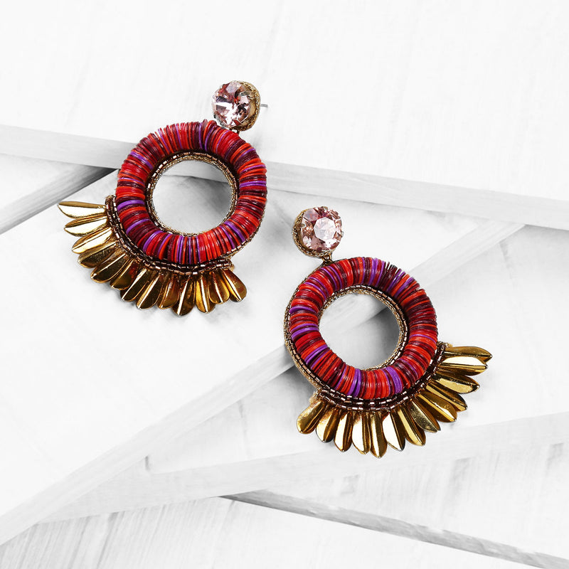 Deepa by Deepa Gurnani Farah Handmade Embroidered Earrings in Berry on Wood Background