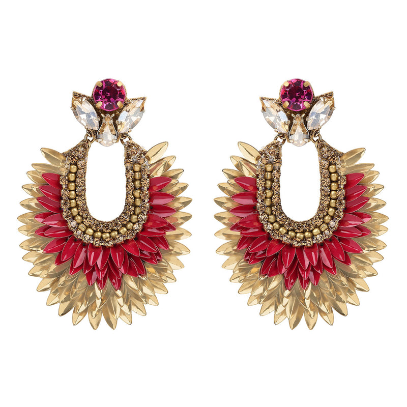 Deepa by Deepa Gurnani Handmade Darcy Earrings in Fuchsia