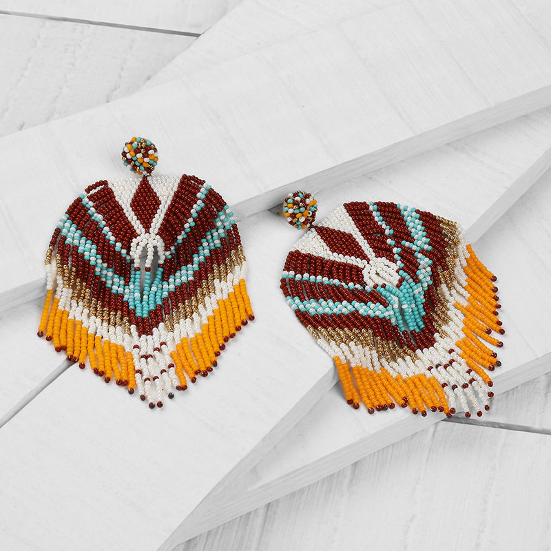 Deepa by Deepa Gurnani Handmade Brown Tiegan Earrings on Slate Background