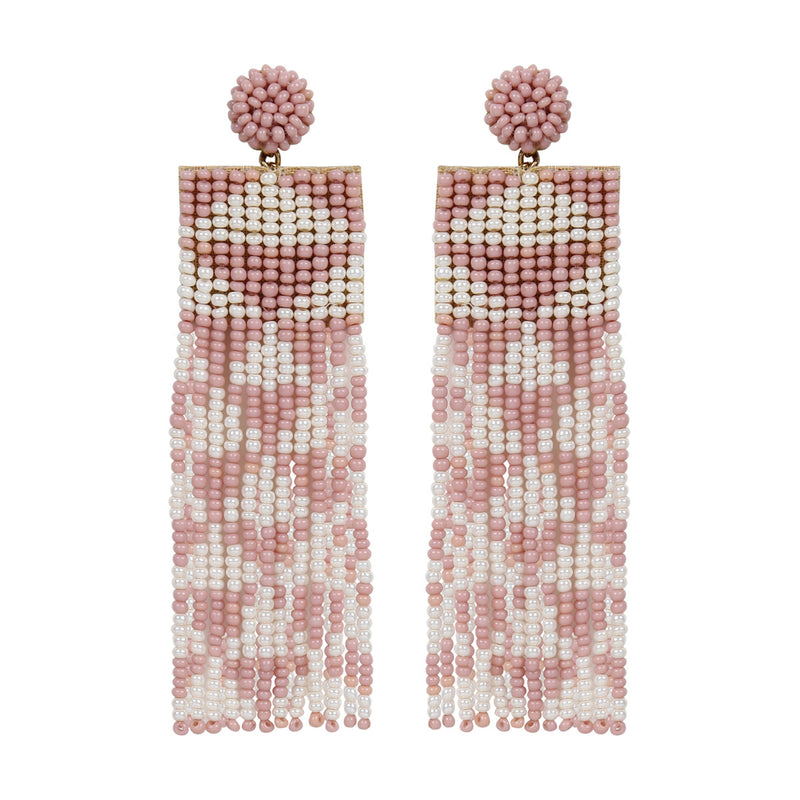 Deepa by Deepa Gurnani Handmade Embroidered Lexia Earrings in Pink