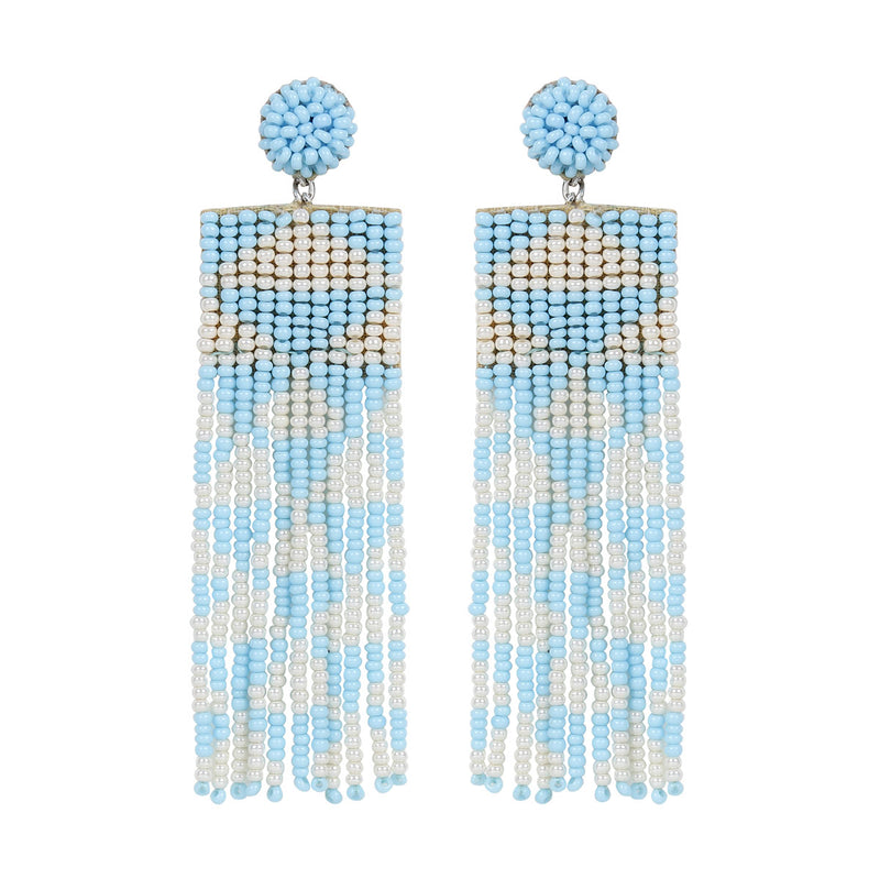 Deepa by Deepa Gurnani Handmade Embroidered Lexia Earrings in Sky Blue