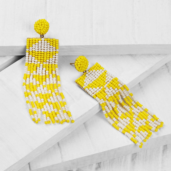 Deepa by Deepa Gurnani Handmade Embroidered Lexia Earrings in Yellow