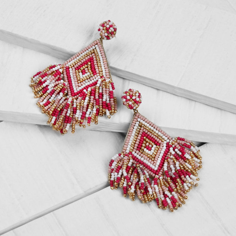 Deepa by Deepa Gurnani Handmade Dottie Earrings in Dusty Pink on Wood Background