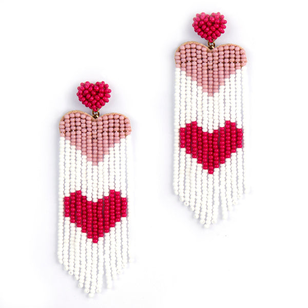 Handmade earrings with heart design