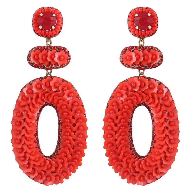 Deepa by Deepa Gurnani Handmade Britt Earrings in Red