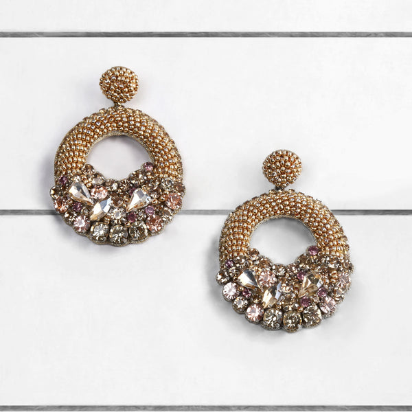 Deepa by Deepa Gurnani Qwin Handmade Embroidered Unique Gold Earrings on Wood Background