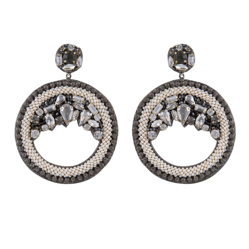 Deepa by Deepa Gurnani Handmade Bernadette Hoop Earrings Gun