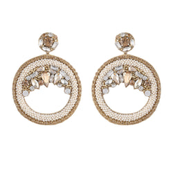 Deepa by Deepa Gurnani Handmade Bernadette Hoop Earrings Ivory