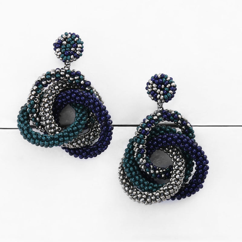 Deepa by Deepa Gurnani Carolyn Earrings Emerald on Wood Background