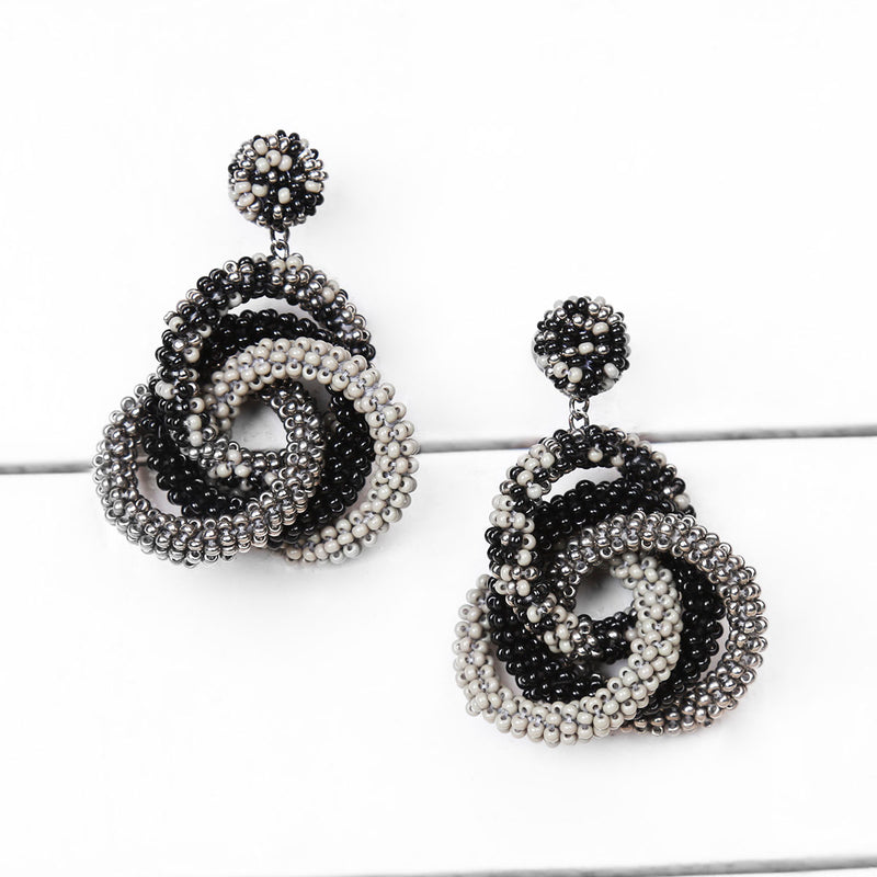Deepa by Deepa Gurnani Carolyn Earrings Grey on Wood Background