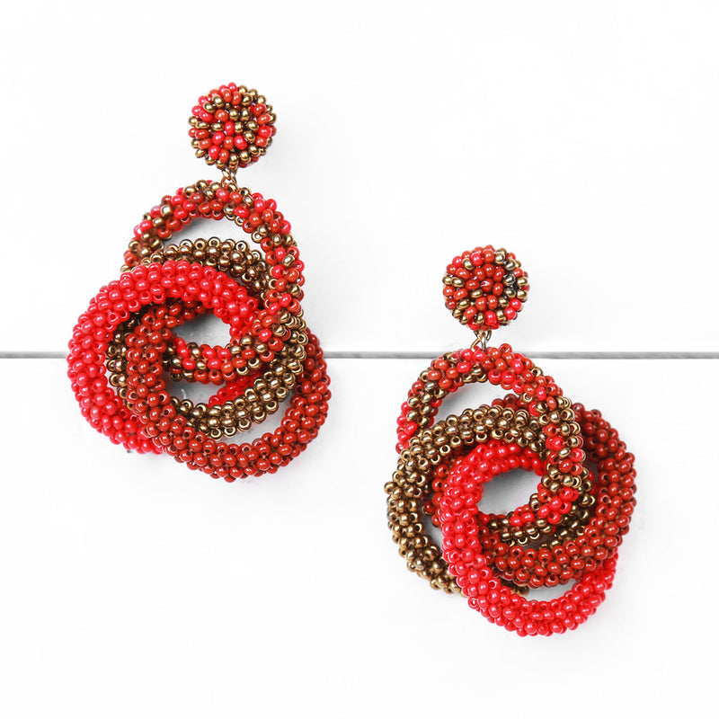 Deepa by Deepa Gurnani Carolyn Earrings Red on Wood Background