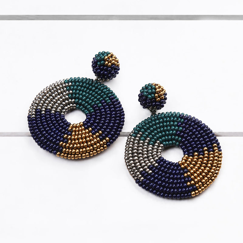 Emerald Handmade Circular Beaded Earrings