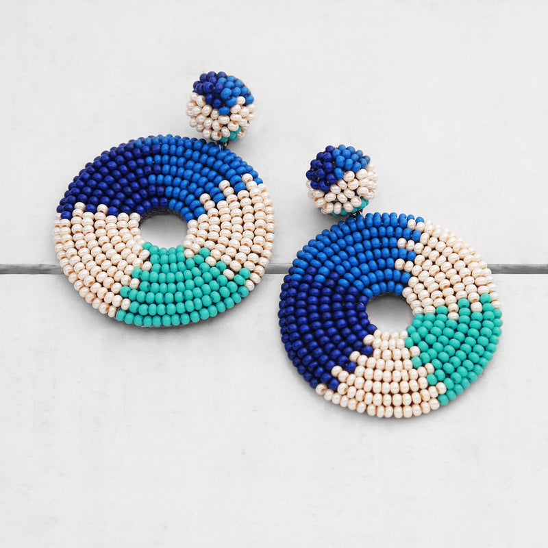 Handmade Circular Beaded Earrings Turquoise