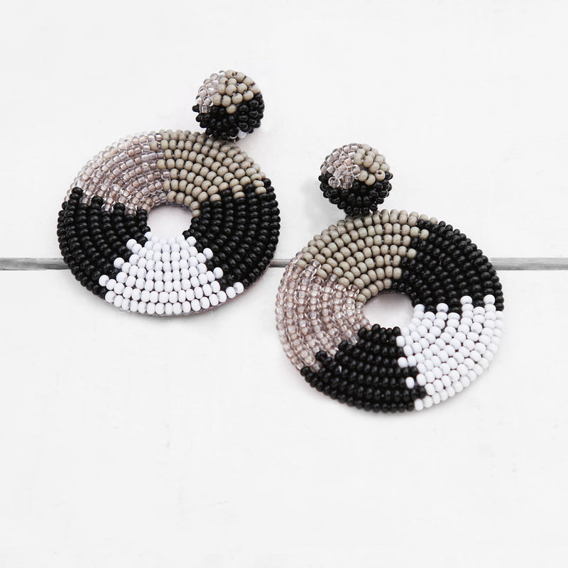 Black and White Handmade Circular Beaded Earrings
