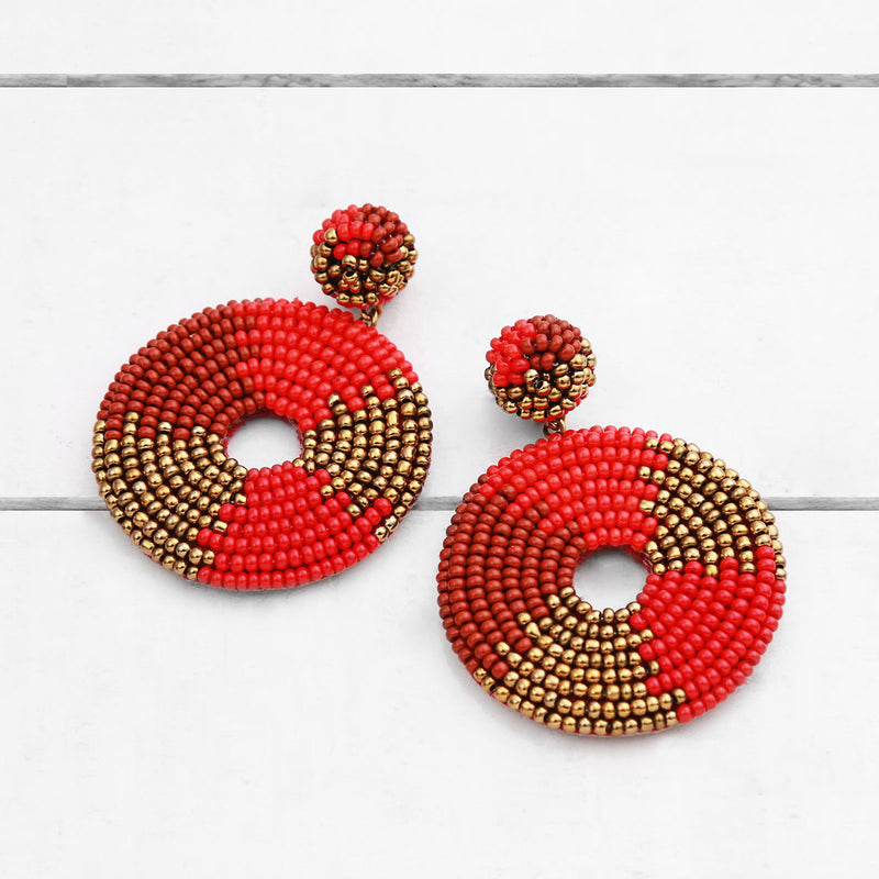 Handmade Circular Beaded Earrings Red