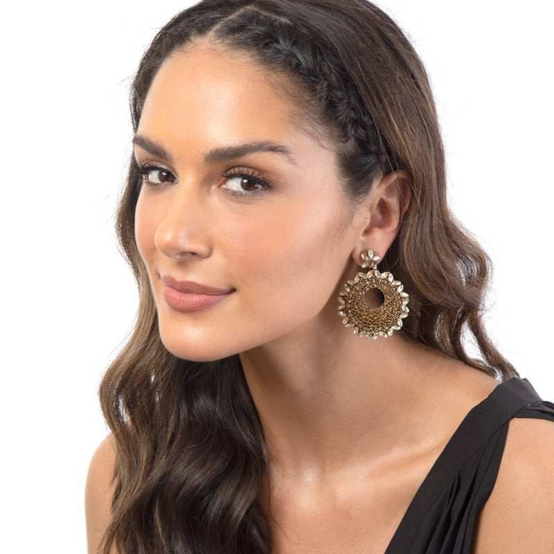 Gold Statement Earrings with crystal accents