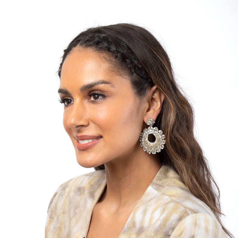 Crystal Statement Earrings with crystal accents