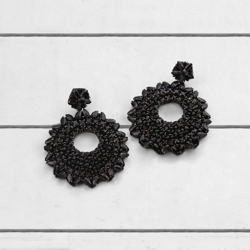 Deepa by Deepa Gurnani Carter Earrings Black on Wood Background