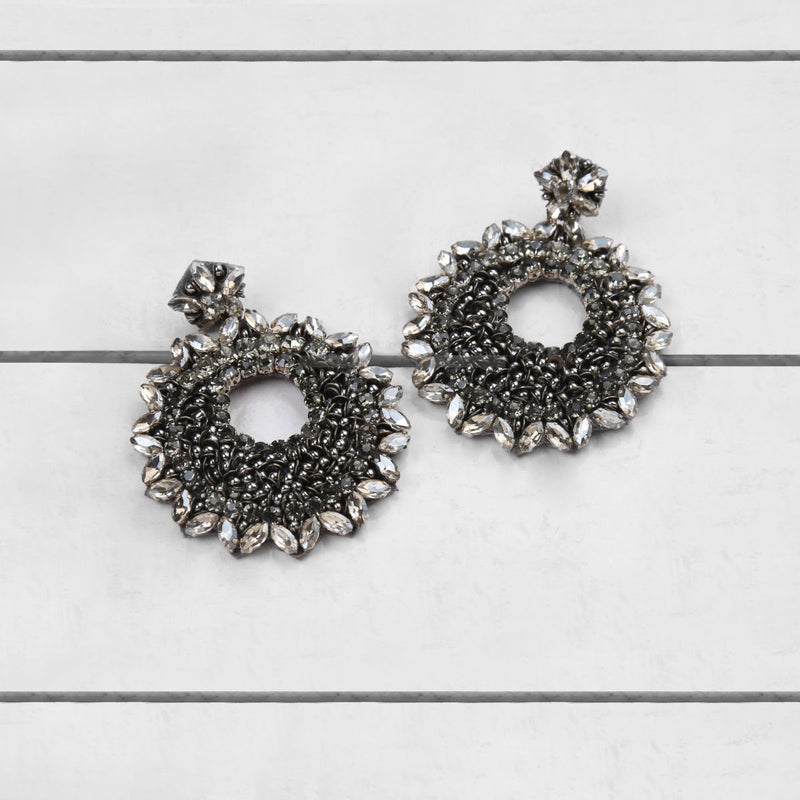 Deepa by Deepa Gurnani Carter Earrings Gun on Wood Background