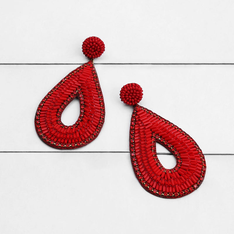 Deepa by Deepa Gurnani Abia Tear Drop Earrings Red on Wood Background