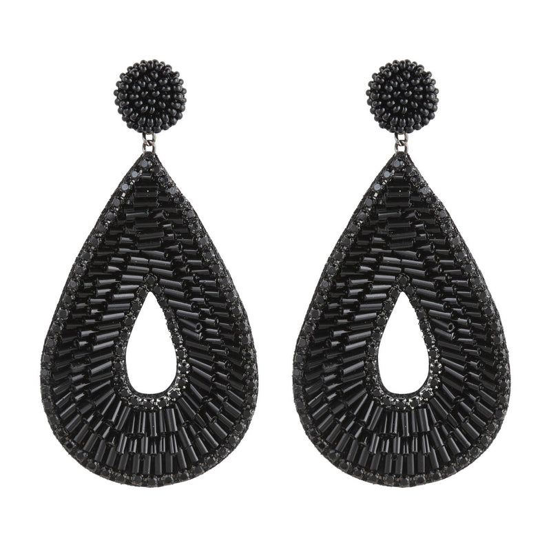 Deepa by Deepa Gurnani Abia Tear Drop Earrings Black