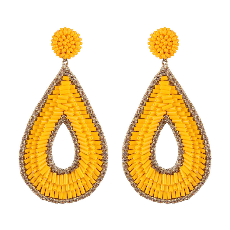 Deepa by Deepa Gurnani Abia Tear Drop Earrings Orange