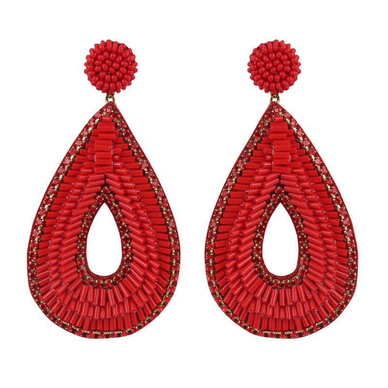 Deepa by Deepa Gurnani Abia Tear Drop Earrings Red