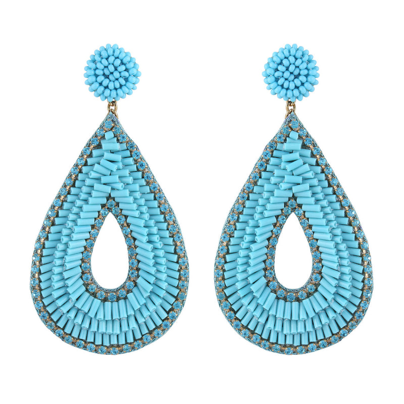 Deepa by Deepa Gurnani Abia Tear Drop Earrings Turquoise