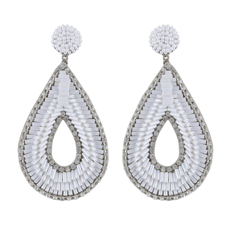 Deepa by Deepa Gurnani Abia Tear Drop Earrings White