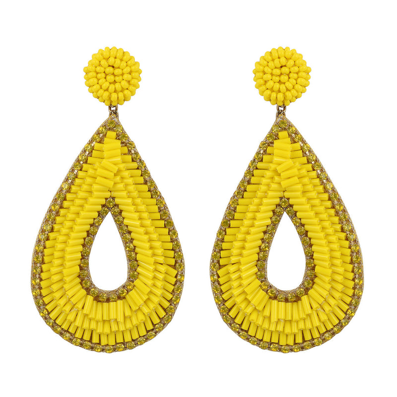 Deepa by Deepa Gurnani Abia Tear Drop Earrings Yellow