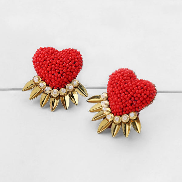 Deepa by Deepa Gurnani Danika Handmade Heart Earrings Red