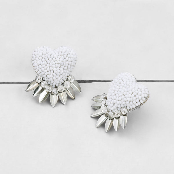 Deepa by Deepa Gurnani Danika Handmade Heart Earrings White