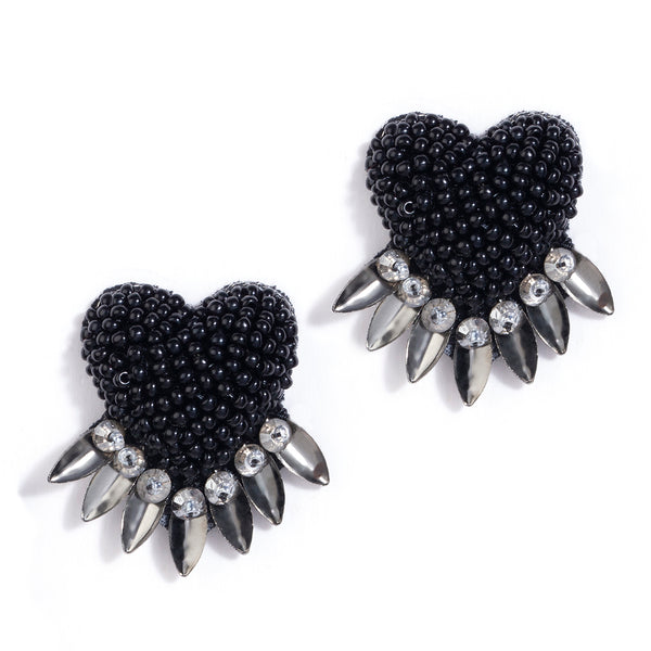 Black beaded heart post earrings