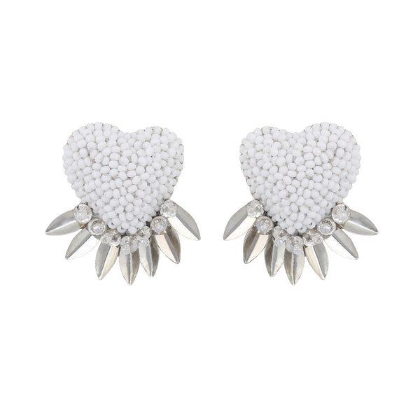 Deepa by Deepa Gurnani Danika Heart Earrings White