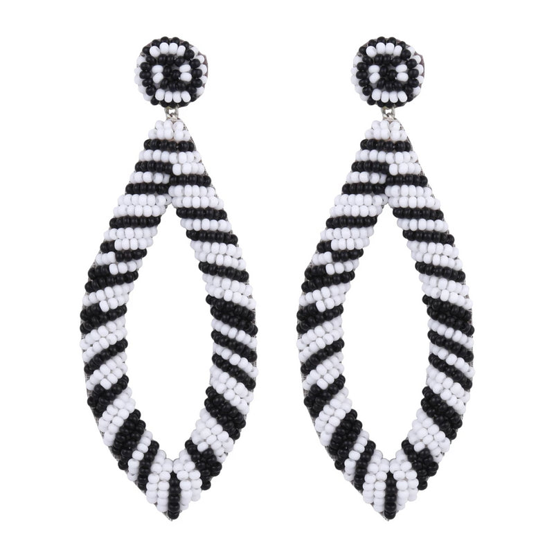 Deepa by Deepa Gurnani Lassie Handmade Embroidered Unique Earrings Black
