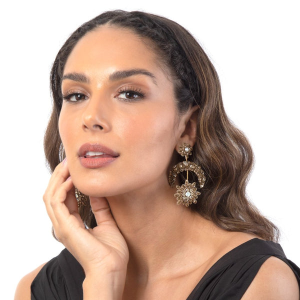 Gold Celestial Statement Earrings